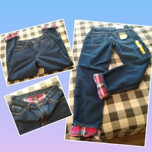 New Flannel lined mom Jeans 8/31 Full Blue